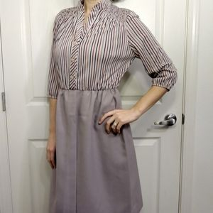 Vintage tan red blue stripe dress